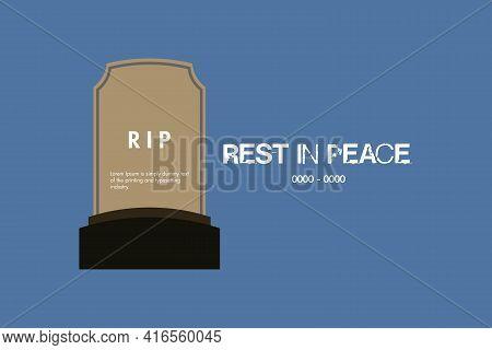 Black Grave For Rest In Peace R.i.p Vector Background Design