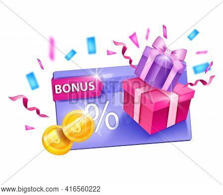 Loyalty Program, Customer Gift Card Vector Bonus Illustration, Golden Coins, Present Box, Confetti.