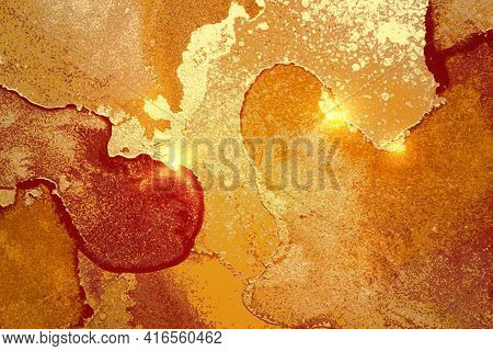 Amber, Red And Gold Abstract Background. Alcohol Ink Marble Texture