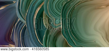 Agate Marble Abstract Background, Gold Stripe Texture. Green Marble Agate With Golden Veins. Abstrac