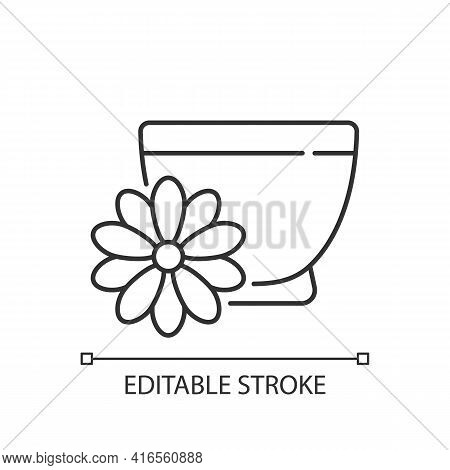 Chrysanthemum Tea Linear Icon. Double Ninth Festival. Flower-based Infusion. Traditional Medicine. T
