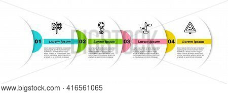 Set Line Traffic Light, Road Traffic Sign, And Steep Ascent And Descent Road. Business Infographic T