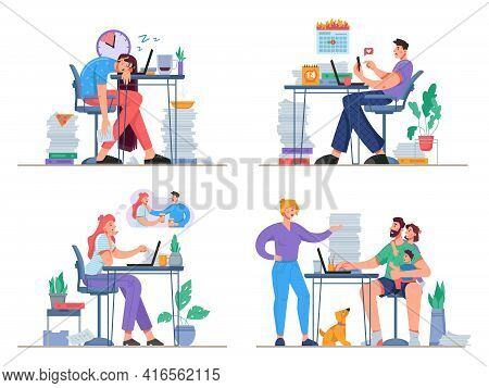 Problems While Working From Home. Freelancers Distracted By Family, Social Media. Stressed And Exhau