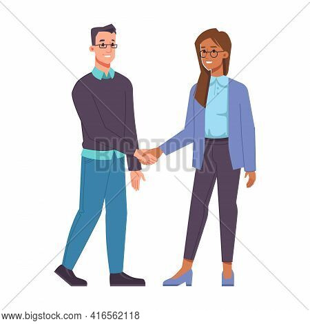 Man And Woman Belonging To Different Races Shaking Hands. Isolated Male And Female Characters, Busin