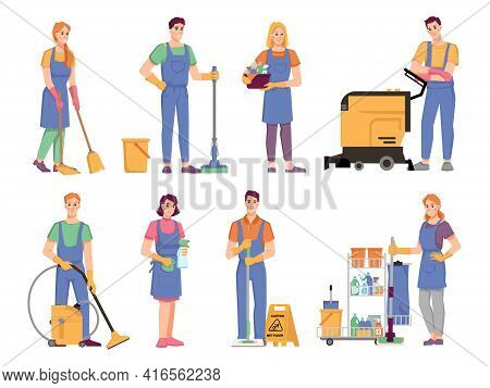 People With Equipments, Detergents And Cloths For Cleaning And Tidying Space. Isolated Set Of Cleane