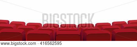 Rows Of Theater Movie Or Cinema Seats Isolated On White. Blank Screen, Red Velvet Chairs In Conferen