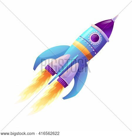 Rocket Launch And Fire Flame, Spaceship Startup Isolated Spacecraft Liftoff Cartoon Icon. Boosters I