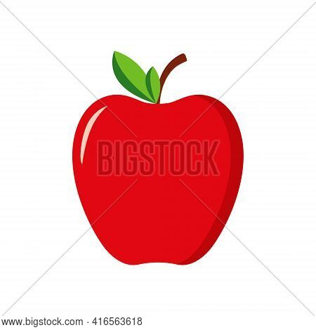 Red Apple With Green Leaf. Icon Of Fruit Apple. Cartoon Logo Isolated On White Background. Symbol Of