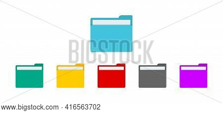 Folder With File For Desktop Of Computer. Icon Of Document Or Data In Folder. Open Or Closed Doc. Co