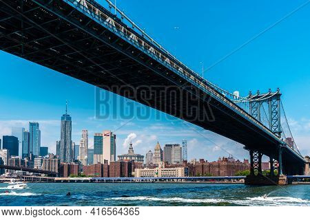 New York City, Usa - June 24, 2018: Manhattan Bridge And Cityscape From East River. Iconic View Of N
