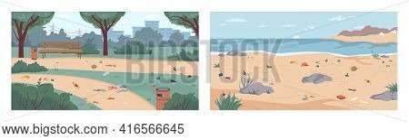 Dirt And Debris On Beach And In Park, Rubbish On Ground And Sand, Vector Flat Cartoon Illustration.