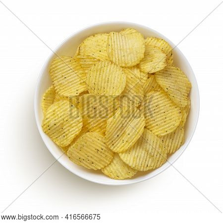 Ridged Potato Chips With Sour Cream And Green Onion Flavor, Top View