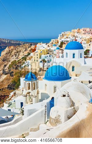 Santorini Island in Greece..  Scenic view of Oia town. Greek cityscape