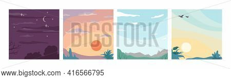 Sky Landscape Different Times Of Day And Night, Flat Cartoon Backgrounds. Vector Moons And Star, Sun
