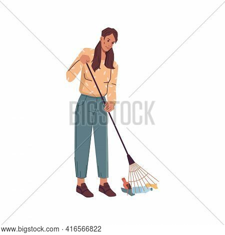 Volunteer Woman With Rake Gathering Garbage Trash Isolated. Vector Cartoon Female Cleaning Up From W