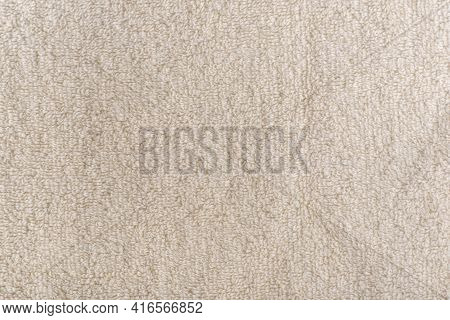 Beige Homogeneous Background. Milky Fabric. Textile Surface. Terry Towel.