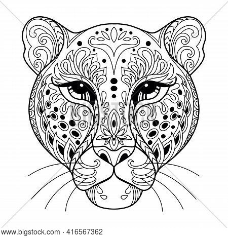 Head Of Leopard. Abstract Vector Contour Illustration Isolated On White Background. For Adult Anti S