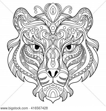 Head Of Tiger. Abstract Vector Contour Illustration Isolated On White Background. For Adult Anti Str