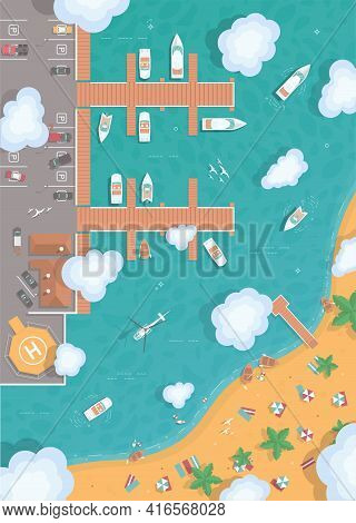 Illustration Of An Island In The Middle Of The Ocean. Cargo Port In Flat Style. Top View. Container