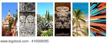 Collection of vertical banners with famous landmarks of Mexico. Aztec goddess of death Coatlicue, Archangel church Dome Steeple in San Miguel de Allende, palms and ocean waves, cactus garden