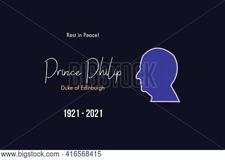 London, Uk - 12 April 2021: Editorial Vector Flat Portrait Of Prince Philip Mountbatten, Duke Of Edi