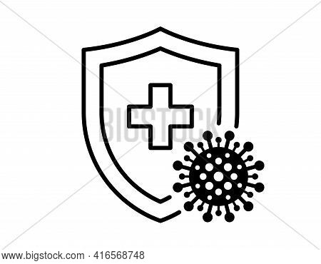 Immune System Concept. Hygienic Medical Black Linear Shield Protecting From Coronavirus Covid-19 Ico
