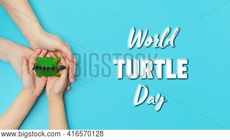 World Turtle Day And Ocean Environmental Day.a Small Turtle In The Arms Of A Mother And Daughter On