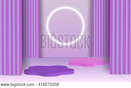 Background Vector 3d Purple Rendering With Podium And Minimal Blue Gray Scene, Minimal Abstract Back