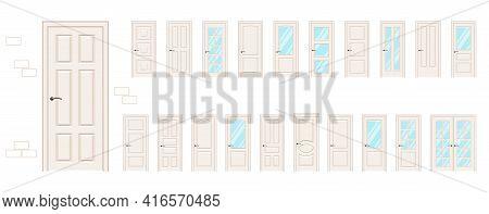 Large Collection Vector Doors. Entrance Doors And Interior Doors In Beige.