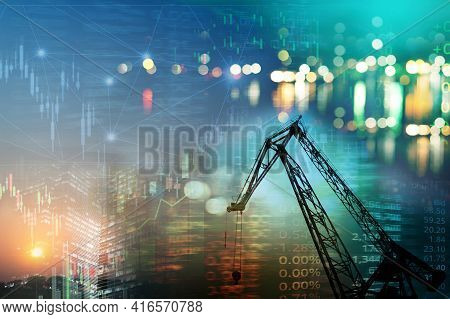 Metal Construction Crane And Market Stock Graph With Index Information Industry And Business Backgro