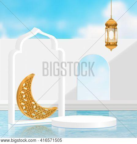 3d Ramadan Kareem Minimal Surrealism White Background Translation Of Text : Ramadan Kareem With Gold