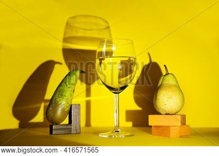Close-up Of A Glass Of Wine. Design Of Advertising Of Alcoholic Beverages. And The Concept Of Advert