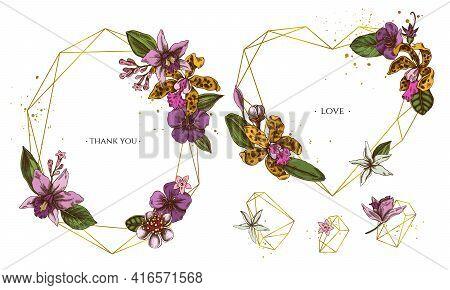 Golden Frame With Laelia, Feijoa Flowers, Glory Bush, Papilio Torquatus, Cinchona, Cattleya Aclandia