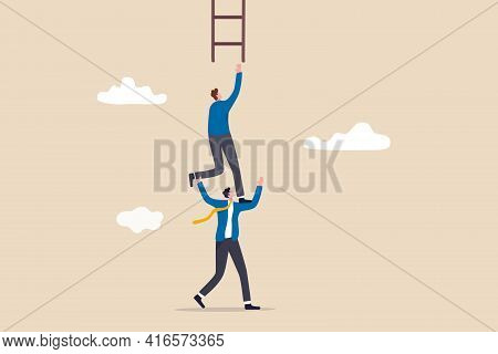 Support Or Mentor To Achieve Business Success, Teamwork Collaboration Or Partnership Help To Reach T