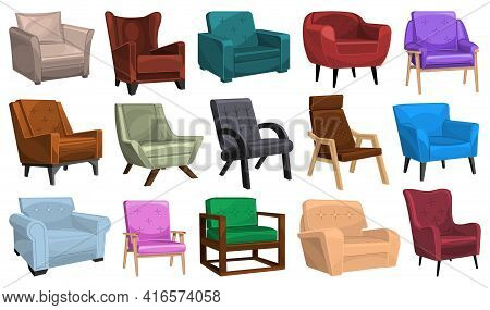 Home Armchair Vector Cartoon Set Icon. Vector Illustration Comfortable Chair On White Background. Is