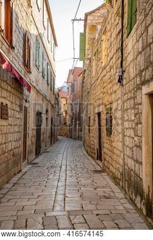 Old Street Without Tourists In Stari Grad, Croatia