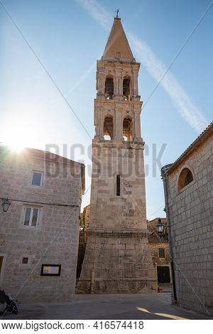 Marble Stone Architecture At City Center With Saint Stephan Church In Stari Grad, Croatia