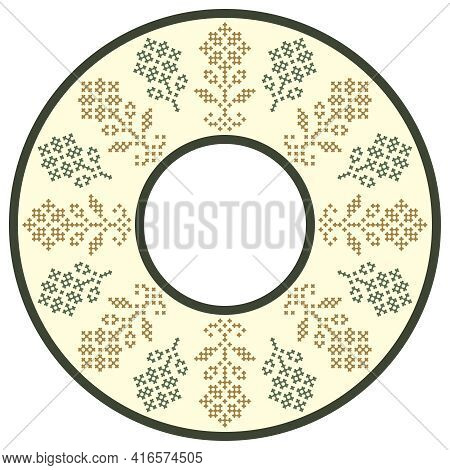 Vector Traditional Folk Cross Stitch Ornament (round Frame Or Tablecloth)