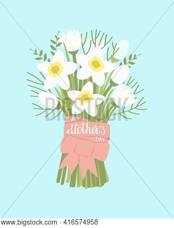 Bouquet Of Daffodils For Mother's Day. The Bouquet Is Tied With A Ribbon With The Inscription Happy