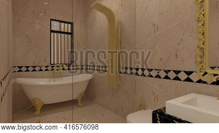 3d Render Illustration Classic Style Washroom. White, Black And Gold Theme Classic Combinations.