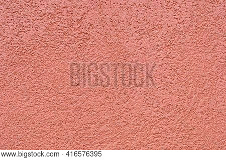 Ocher Color Texture Of The Plaster On The Exterior Walls