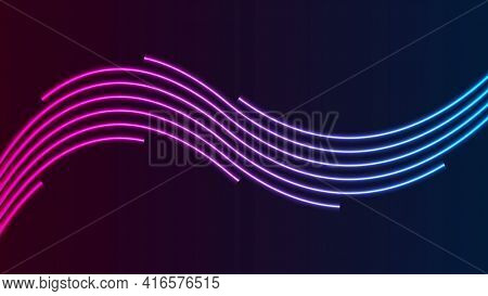 Blue ultraviolet neon curved wavy lines background