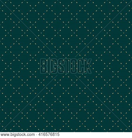 Golden Minimalist Vector Seamless Pattern. Subtle Minimal Geometric Texture. Simple Dark Green And G