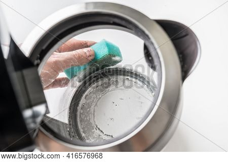 Kettle With White Limescale Surface - Hard Water Concept