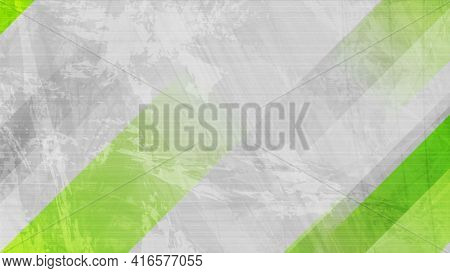 Grunge grey wall background with green stripes