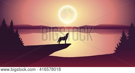 Wolf Howls At Full Moon By Lake Nature Landscape
