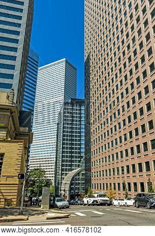 Denver,co - September 10,2019:skyscrapers In Downtown City Denver,colorado,united States.
