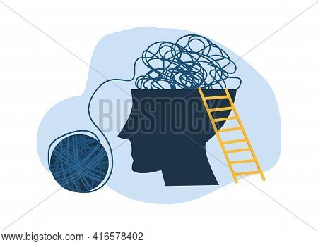 Confused Thoughts In Head. Psychological Problems, Life Troubles. Mental Illness And Need For Psychi