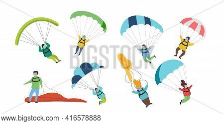 Collection Of Parachutists And Skydivers Isolated On White Background. Sky Jump With Parachute And P