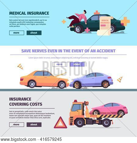 Insurance Cars Banners. Accident On Road With Damaged Vehicles Traffic Car Elements Garish Vector Te